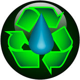 Recycle Water Web Button Stock Photo