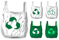 Recycle white and green plastic bag Stock Images