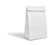 Recycle white paper bag isolate is on white background Stock Photo