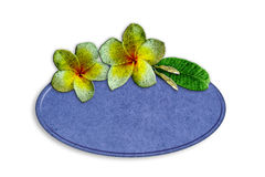 Recycle wooden sign decorated with flowers. On white background Stock Photo