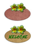 Recycle wooden sign decorated with flowers Stock Image