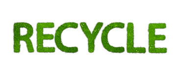 Recycle word made out of grass. Isolated vector illustration