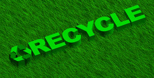 Recycle word over green grass. 3D illustration of recycle word over green grass vector illustration