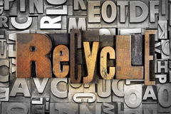 Recycle. The word RECYCLE written in vintage letterpress type Royalty Free Stock Image