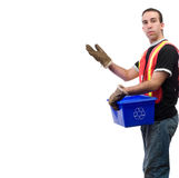 Recycle Worker. A recycle worker showing off your text, isolated against a white background Royalty Free Stock Photography