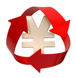 Recycle Yen (clipping path included). Image of 3d recycle sign with Yen. White background. Image with clipping path Stock Images