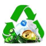 Recyclebarer Abfall, der Glasplastikmetall und aus Papier besteht lizenzfreie stockfotografie