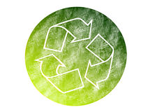 Recycled. Green recycled sign over white background. isolated illustration Stock Photography