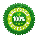 100% Recycled Badge Label Isolated Stock Photography