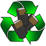 Recycled batteries. Recycling logo with three batteries Stock Photo