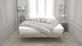 Recycled bed, hanging wooden chaise, scandinavian bedroom, white Royalty Free Stock Photography