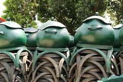 Recycled bins from tires. Royalty Free Stock Photography