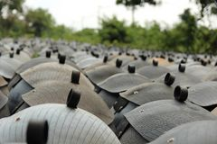 Recycled bins from tires. Royalty Free Stock Image
