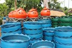 Recycled bins from tires. Stock Images