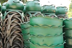 Recycled bins from tires. Royalty Free Stock Images