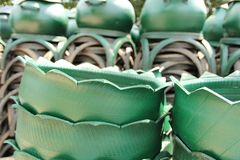 Recycled bins from tires. Royalty Free Stock Photos