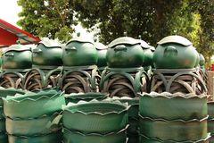 Recycled bins from tires. Stock Image