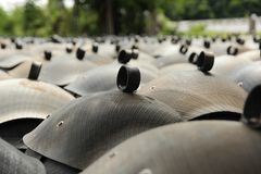 Recycled bins from tires. Stock Photography