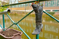 Recycled boot used as a planter Stock Image
