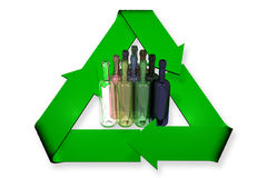Recycled bottles. Triangle arranged bottles of different colors surrounded by recycle sign vector illustration