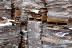 Recycled cardboard. Recycle center with many pallets of recycled cardboard Royalty Free Stock Image
