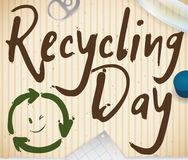 Doodles over Recycled Cardboard and Recyclable Materials for Recycling Day, Vector Illustration. Recycled cardboard with smiling recycling arrows and some Stock Photos