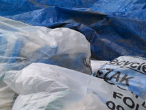 Recycled construction waste. A closeup of plastic bags holding recyclable construction waste Stock Image
