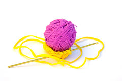 Recycled Crochet Ball and Hook Stock Photo