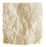 Recycled crumpled paper bag isolated Stock Image