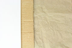 Recycled crumpled paper,carton and white blank papper Stock Image