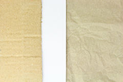 Recycled crumpled paper,carton and white blank papper Royalty Free Stock Photography