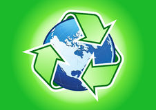 Recycled earth. All elements are separate objects and grouped. File is made with linear and radial gradient. No transparency. Map source Url Vector Illustration