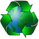 Recycled earth. Recycling arrows surrounding the planet earth Stock Photo