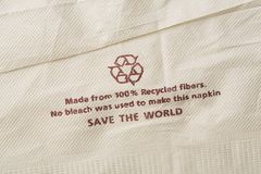 Recycled fibers napkin Royalty Free Stock Images