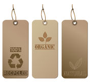 Recycled Hanging Tags, Brown Stock Image