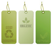 Recycled Hanging Tags, Green Stock Image