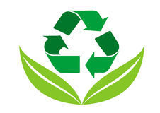 Recycled icon with leaf Stock Photos