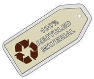 Recycled material. Tag with 100% recycled material with recycle logo - vector Stock Image