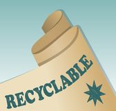 Recycled material emblem, rolled old yellowed paper with inscription recyclable  Royalty Free Stock Image