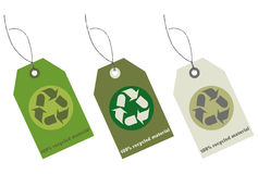 Recycled material tags with clipping path Royalty Free Stock Image