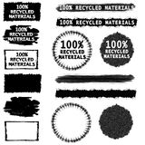 Recycled Materials Labels. An illustration featuring an assortment of grunge labels with blank faces and optional '100% Recycled Materials' in black and white Stock Photography