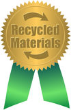Recycled Materials Seal/eps. Illustration of a gold seal and green ribbon with the message Recycled Materials Royalty Free Stock Photo