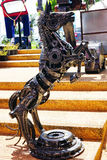 Recycled metal steel Robots theme park at Hua Hin Tique animal show : iron horse rearing up Royalty Free Stock Photography