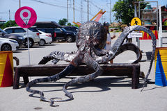 Recycled metal steel Robots theme park at Hua Hin Tique animal show : iron squid giant Royalty Free Stock Photography