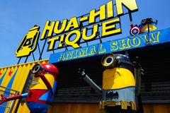 Recycled metal steel Robots theme park at Hua Hin Tique animal show : minion in spiderman and batman uniform suit Stock Photography