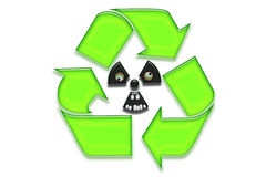 Recycled and nuclear symbl Stock Photo