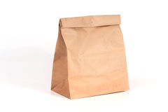 Recycled paper bag on white background. Stock Images