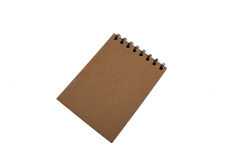 Recycled paper blank notepad with pen on white Stock Image