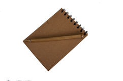 Recycled paper blank notepad with pen on white Royalty Free Stock Photos