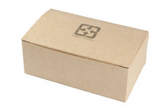 Recycled paper box. A recycled paper box with a recycle symbol Royalty Free Stock Images